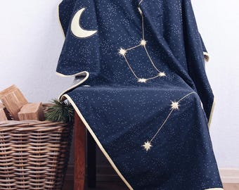 Organic baby blanket, blue baby quilt, cotton, starry sky, modern design