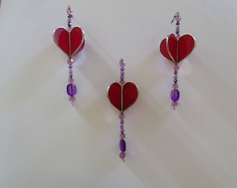 Heart Sun Catcher, 3D Stained Glass Heart with Beads