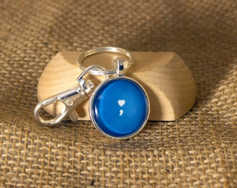 Semicolon Heart Photo Keychain- Jewelry for a Cause