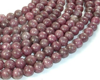 Lepidolite Beads, 8mm(8.5mm) Round Beads, 15.5 Inch, Full strand, Approx 47 beads, Hole 1mm (297054004)