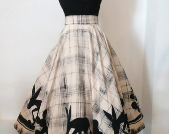 Adorable! 1950s Novelty Donkey Border Print Mexican Circle Skirt