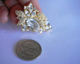 Vintage Monet Brooch / Pin / Rhinestone Brooch / Pin / Monet Jewelry / Gold Brooch / Pin / Designer Brooch / Pin