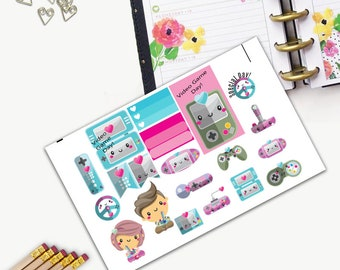 Video Game Day Theme One Day Small Planner Sticker Set, Happy Planner, Passion Planner, Stickers, Printed, Cut, Functional Sticker, Arcade,