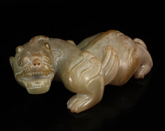 N5087 Vintage Chinese Hetian Jade Unicorn Statue