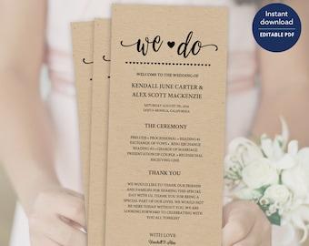 Rustic Wedding Program Template, Rustic Wedding,Program, Program Template, Wedding Program, Ceremony Program,Program, Wedding Programs