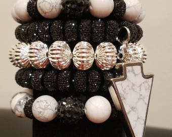 Black,White, and Silver Marbled Stone Bracelet