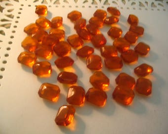 22 Vintage Topaz Rust Glass 10x12mm Cabochons Jewelry Supplies