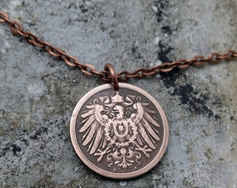 GERMANY NECKLACE - Antique 1875 -1915 German coin pendant - Imperial Eagle Shield - 1 pfennig - eagle pendant - German jewelry - man pendant