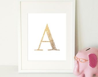 Gold Foil Monogram Print, Nursery Print, A