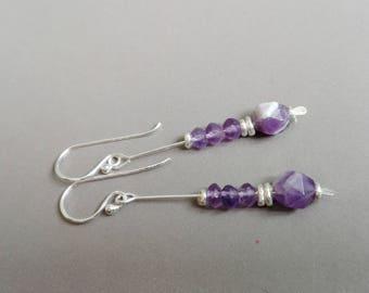 Earrings amethyst and sterling silver