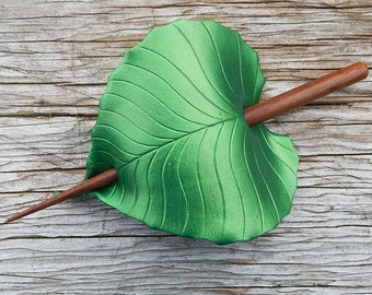 Leather Hair Accessory or Shawl Pin - Gift for Her - Emerald Green Birch Leaf Barrette, Hair Stick, Hair Slide - Small to Medium