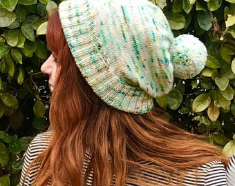 AURORA - speckled winter knit beanie with removable pom pom