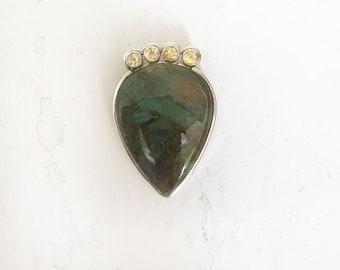 Moss Agate pendant Natural Moss Agate necklace 925 silver Handmade pendant Gemstone Pendant Citrine Silver Pendant healing crystal necklace