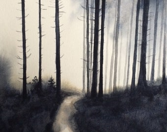Forest painting, foggy forest, Forest watercolor, Misty trees, Misty pines, pine forest, watercolor trees, tree painting, tree tops, firs