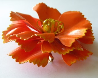 On Sale Orange yellow enamel flower brooch pin. Floral brooch pin.