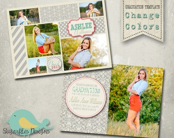 Graduation Announcement PHOTOSHOP TEMPLATE -  Senior Graduation 14