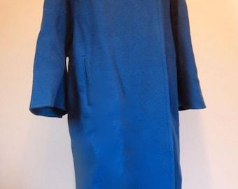 ON SALE Vintage Couture Norman Hartnell Le Petit Salon blue pure wool full length coat size 40