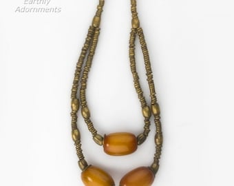 African brass heishi and African amber necklace. nlet808(e)