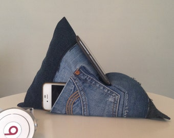iPad, Tablet, Kindle, Phone, Book Holder Bean Bag Stand. Upcycled denim, Perfect Gift