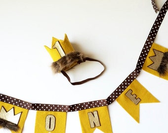 Wild Things Crown and Bunting, First Birthday Ideas, Wild One Bunting, Wild 1 Bunting, Wild Things Bunting, Cake Bunting, Wild 1, Wild One