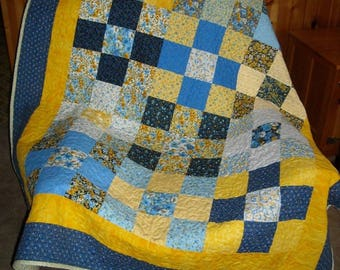 New blue and yellow patchwork quilt made in USA