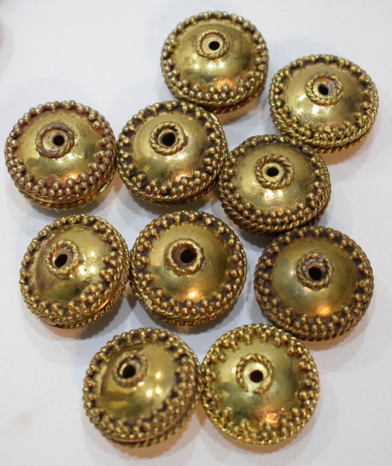 Beads India Brass Beaded Rondelles Vintage Beads 28mm