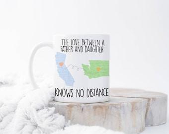 Custom Long Distance Mug, Christmas Gift for Dad, State to State Mug, Father's Day Gift, Birthday Gift for Father, Dad Mug, Moving Away Gift