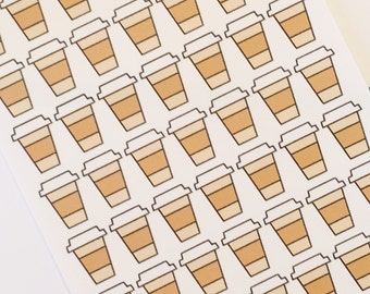 49 Travel Coffee Cup Planner Stickers- Coffee Cup Coffee Date Reminder Stickers- perfect in your Erin Condren planner, calendar or scrapbook