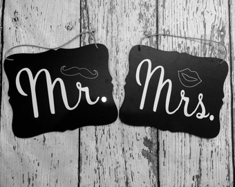 Mrs & Mr Chair Signs // Wedding Chair Signs // Bride and Groom Chair Signs // Custom Chair Signs
