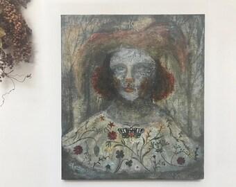 "Acrylic Original Painting  ""A clown wearing flowers""  On wooden panel   by Tetsuhiro Wakabayashi"