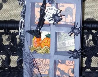Halloween Decoration Repurposed Vintage Thimble Box Shadowbox OOAK Halloween Decor Decorated Skeleton