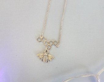Bee Necklace, Honeycomb Necklace, Manchester Bee, Manchester Jewellery