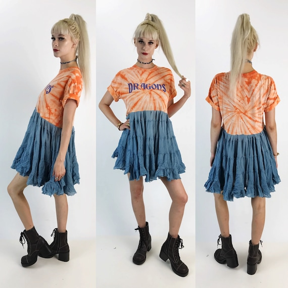 DRAGONS Handmade Lunar Eclipse Tee Shirt Dress - Unique Tie Dye Orange Blue Upcycled Shirt Dress - Recycled Mini Dress Adult Medium Tunic