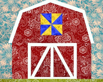 Barn quilt block, paper pieced quilt pattern, PDF pattern, instant download, barn pattern