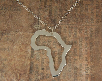 Africa Necklace - Africa pendant with sterling silver chain - Adoption necklace - Collar áfrica silueta