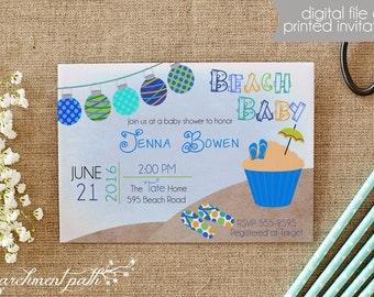 Beach Baby Shower Invitation - Summer Baby Shower - Boy Baby Shower - Printable Invitation