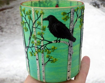 Lone Raven In the Birch Trees Sculpted with Polymer Clay onto a recycled Glass Candle Holder in Light Green