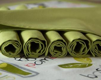 6 fabric Napkins, 35 x 35 cm, Green