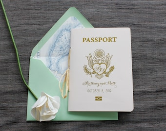 Blush & Mint Passport Wedding Invitation - Gold Foil Cover with 4 inner pages - Palm Tree Motif