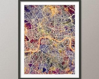 London Map, City Street Map of London England, art print (3032)