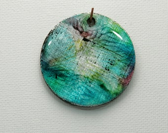 Round Pendant Turquoise Charm Summer Colors Caribbean Blue Polymer Clay Alcohol Inks Resin Finish Blue Green Metallic Shiny Pendant Handmade