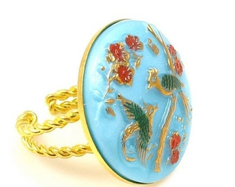 Bird Ring, Birds and Flowers Ring, Flower Ring, Aqua Ring, Vintage Glass Ring, Gold and Aqua Ring