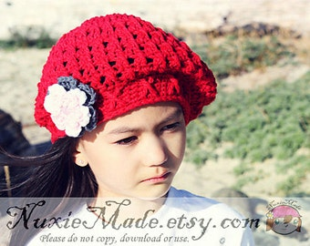 Winter Beret 12-24 Months, Crochet Hat, Child Hat, Slouchy Hat, Hat with Flowers, Childrens Hat, Red Beanie, winter hat, slouchy winter hat