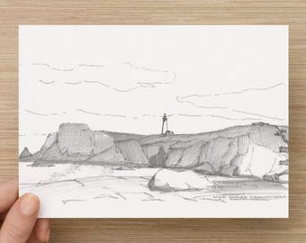 Ink Drawing of Yaquima Head Light in Newport, Oregon - Sketch, Art, Landscape, Lighthouse, 5x7, 8x10, Print, Pen and Ink, Architecture