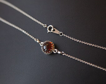 Amber Pendant, Natural Amber Necklace, Sterling Silver Amber Necklace, Safe Travels Jewelry, Healing Jewelry, Gift for Women