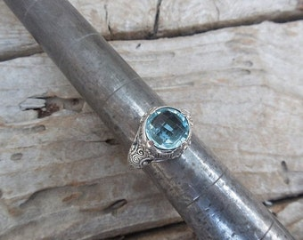 ON SALE Gorgeous Sky blue topaz ring handmade in sterling silver 925