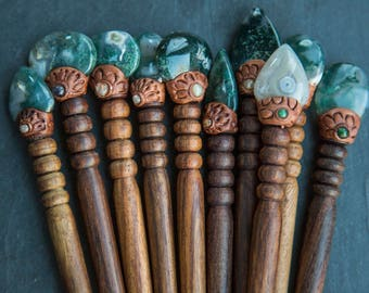 Baguette bois en pierres / Pic à cheveux en bois argile et pierre semi-precieuses