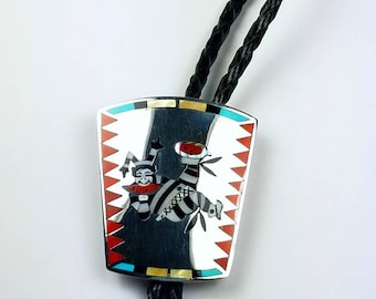 Vintage Native American Zuni handmade Sterling Silver inlay Turquoise Onyx Coral Mother of Pearl Howlite stone bolo tie
