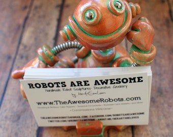 Robot Business Card Holder Faux Bronze Patina Geeky Office Decor
