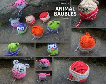 Handmade Crochet Animal Christmas Decorations/Baubles
